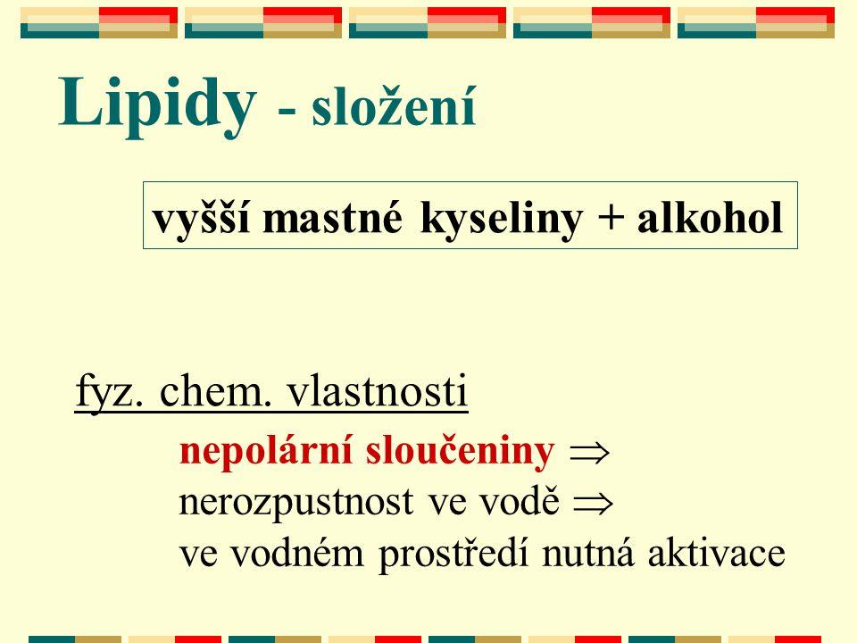 Lipidy - složení vyšší mastné kyseliny + alkohol fyz. chem. vlastnosti