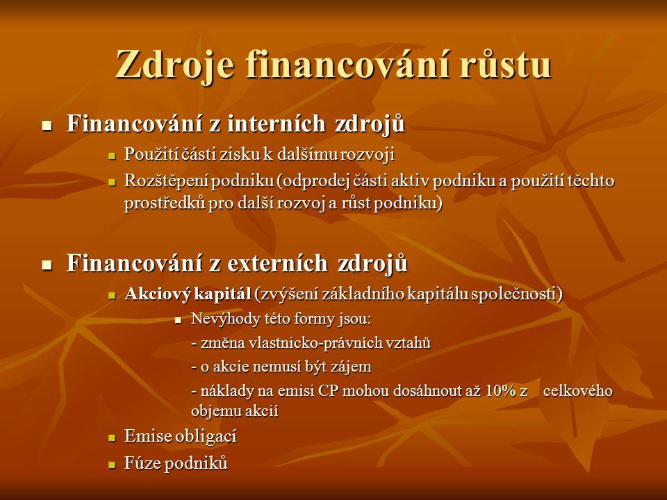 Zdroje financování růstu