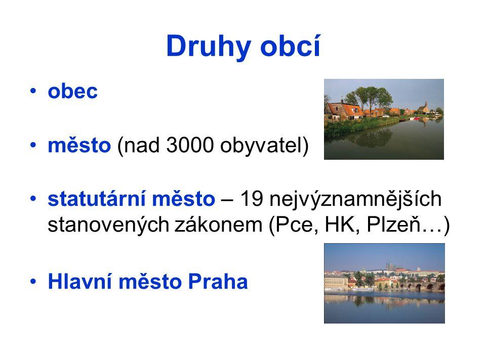 Druhy obcí obec město (nad 3000 obyvatel)