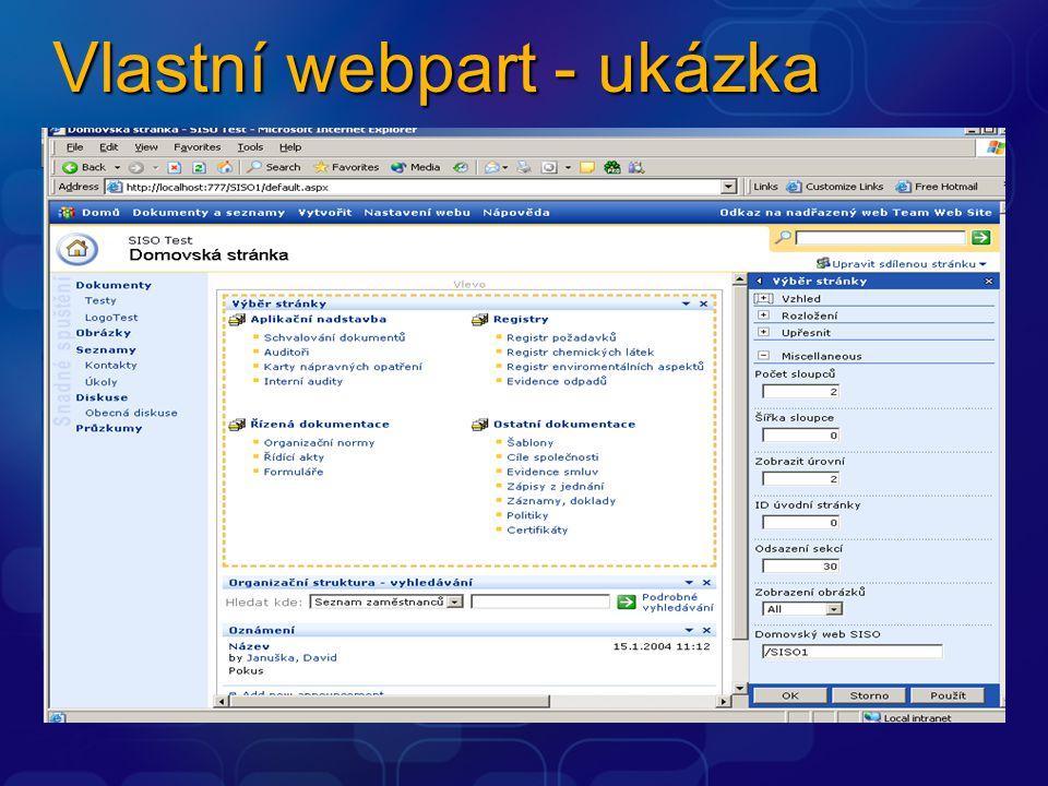 Vlastní webpart - ukázka