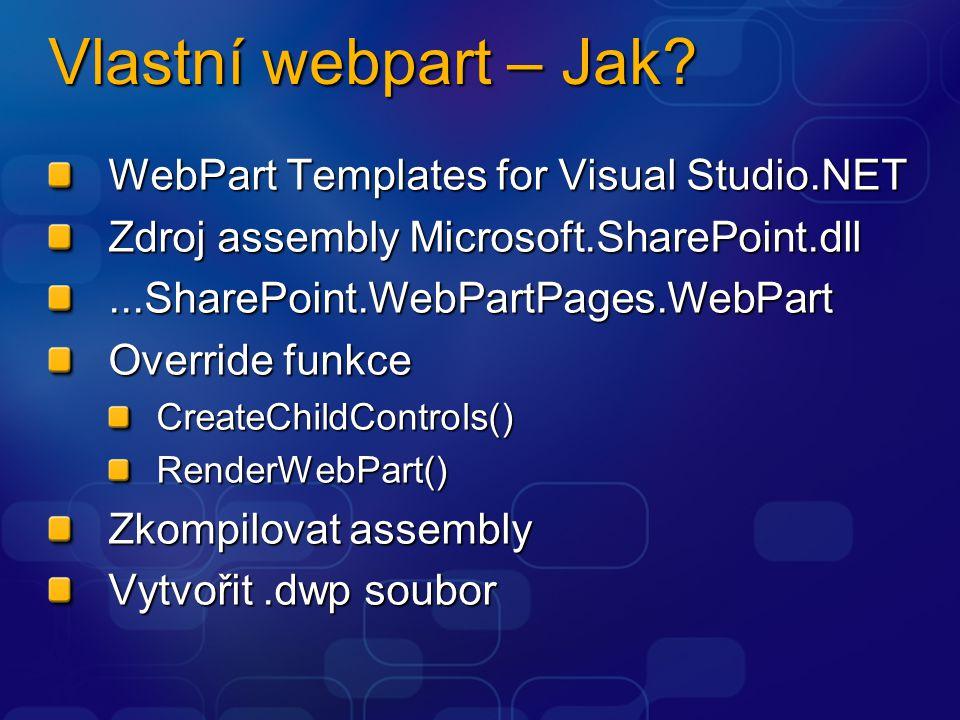 Vlastní webpart – Jak WebPart Templates for Visual Studio.NET
