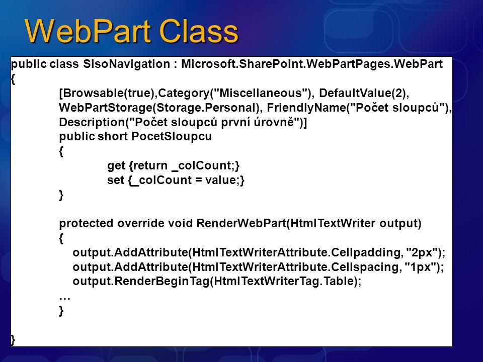 WebPart Class public class SisoNavigation : Microsoft.SharePoint.WebPartPages.WebPart. {