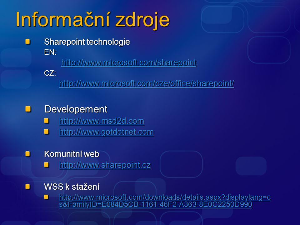 Informační zdroje Developement Sharepoint technologie