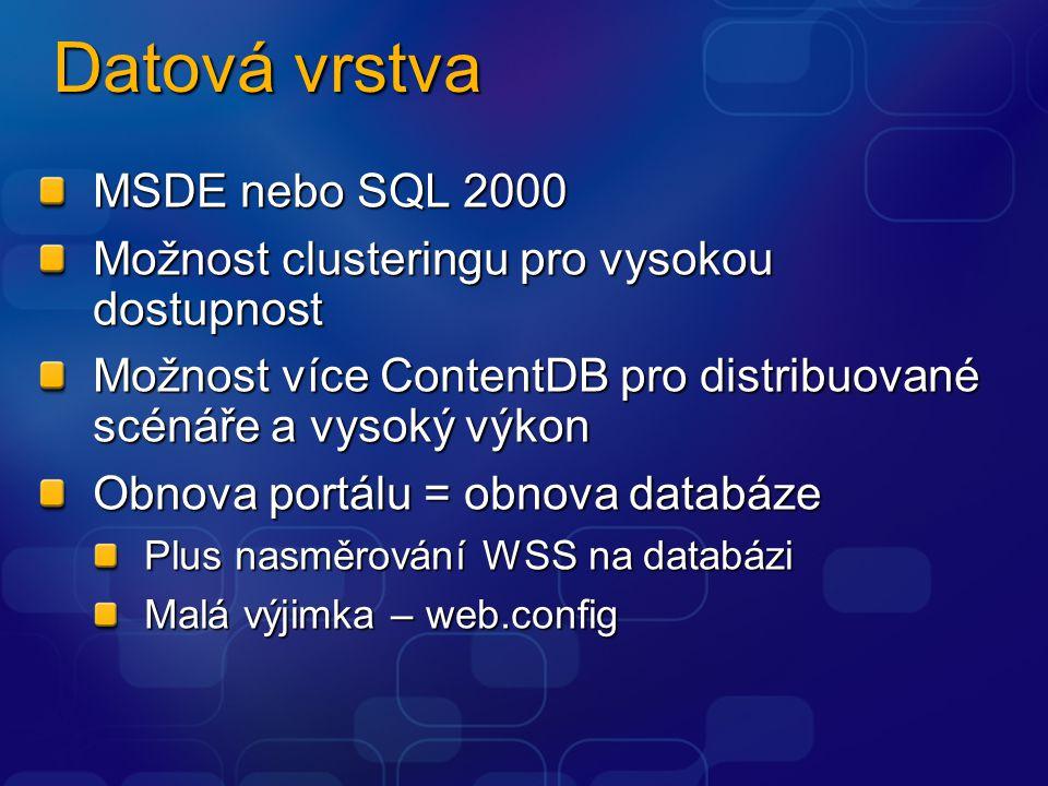 Datová vrstva MSDE nebo SQL 2000