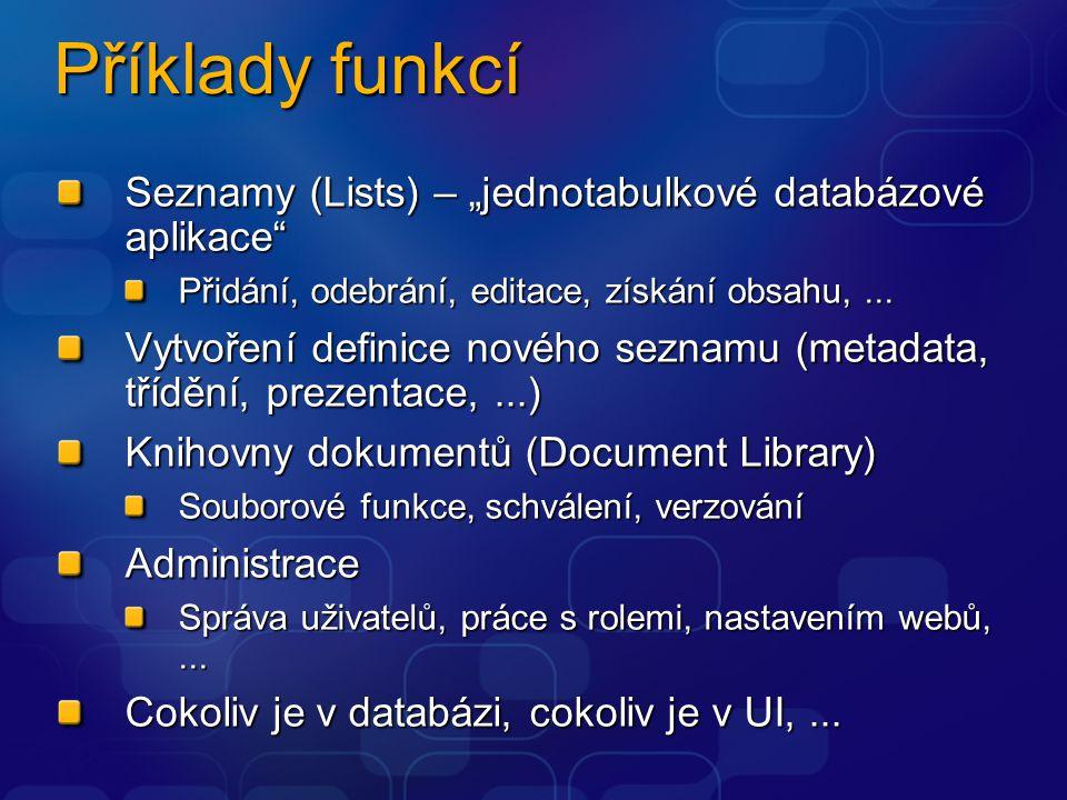 """Příklady funkcí Seznamy (Lists) – """"jednotabulkové databázové aplikace"""