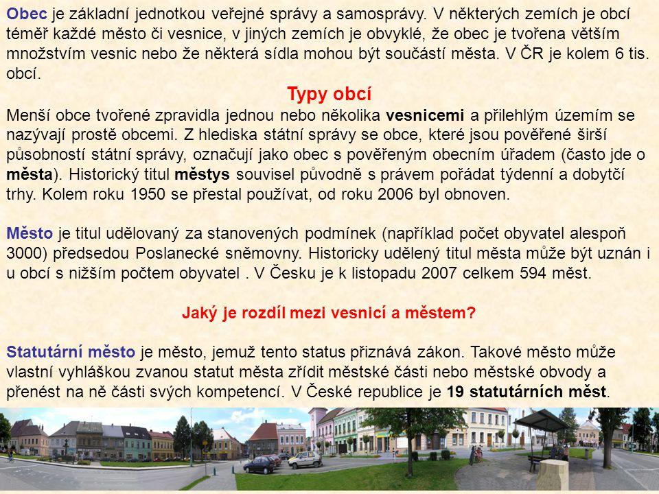Jaký je rozdíl mezi vesnicí a městem