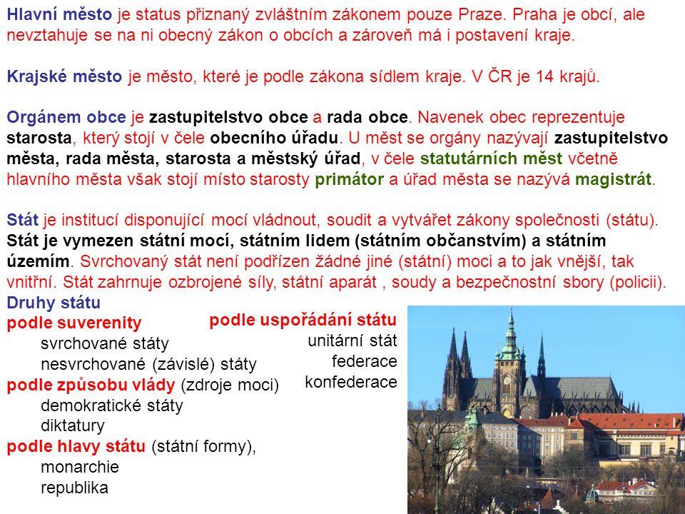 Hlavní město je status přiznaný zvláštním zákonem pouze Praze