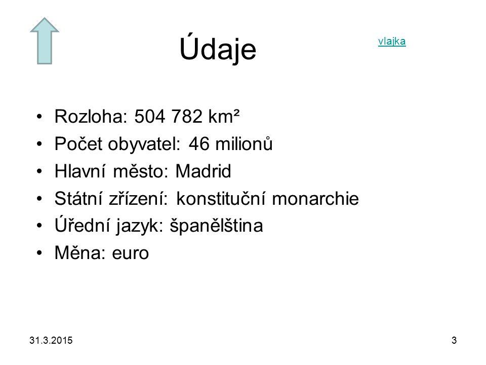 Údaje Rozloha: 504 782 km² Počet obyvatel: 46 milionů