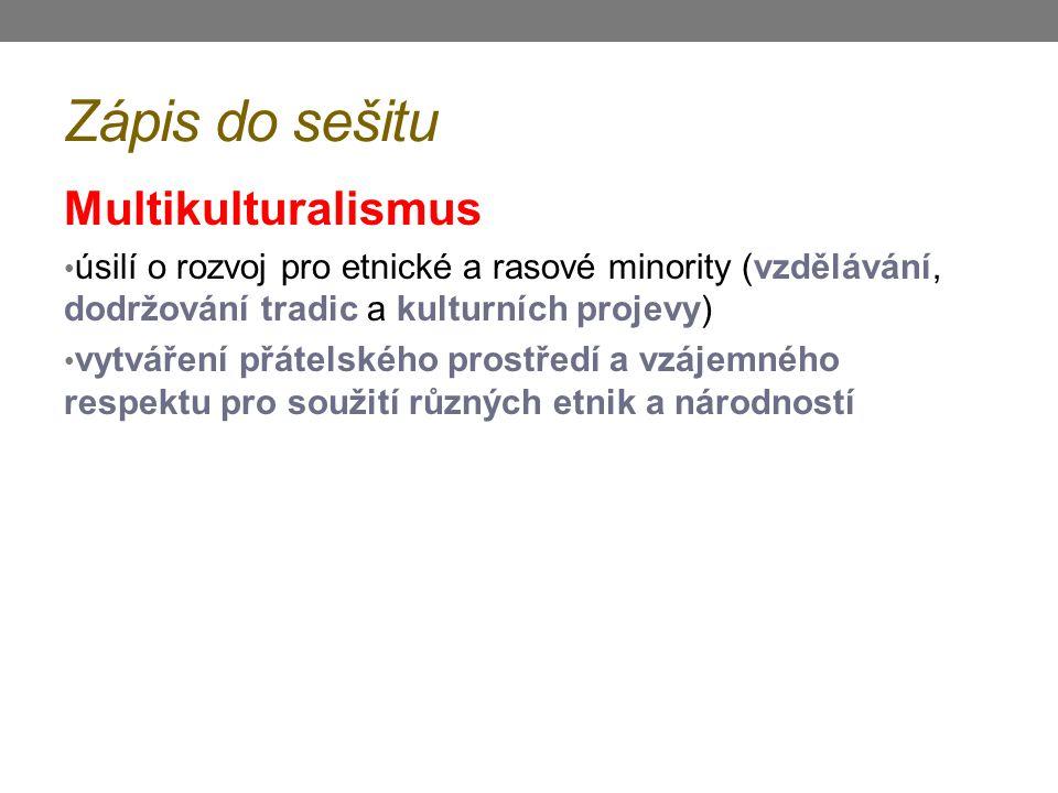 Zápis do sešitu Multikulturalismus