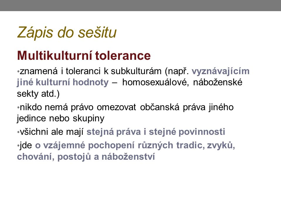 Zápis do sešitu Multikulturní tolerance