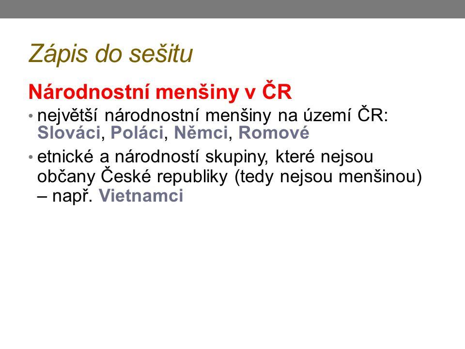 Zápis do sešitu Národnostní menšiny v ČR