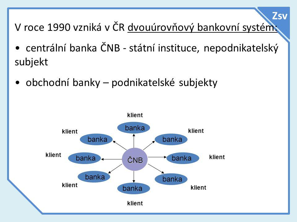 V roce 1990 vzniká v ČR dvouúrovňový bankovní systém:
