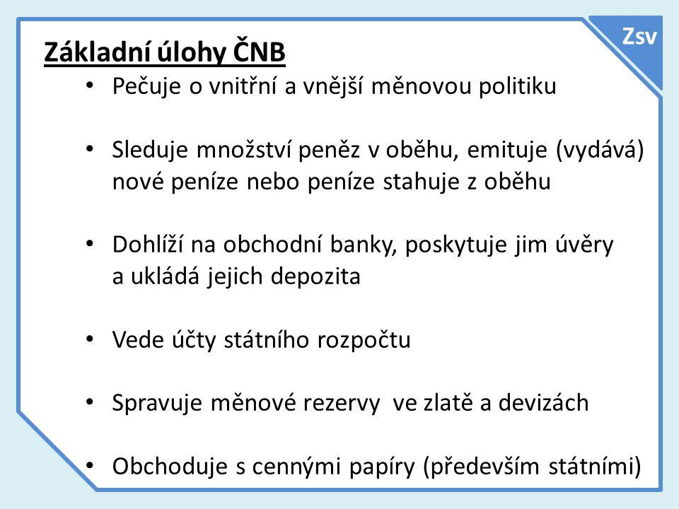 Základní úlohy ČNB Zsv Pečuje o vnitřní a vnější měnovou politiku