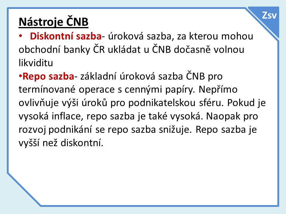 Zsv Nástroje ČNB. Diskontní sazba- úroková sazba, za kterou mohou obchodní banky ČR ukládat u ČNB dočasně volnou likviditu.