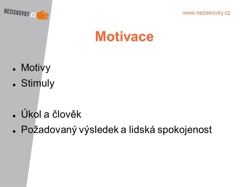 Motivace Motivy Stimuly Úkol a člověk