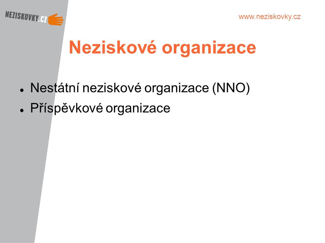 Neziskové organizace Nestátní neziskové organizace (NNO)