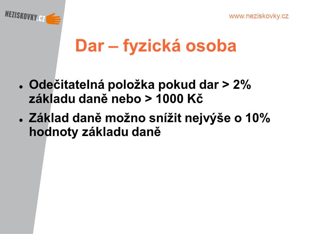Dar – fyzická osoba Odečitatelná položka pokud dar > 2% základu daně nebo > 1000 Kč.