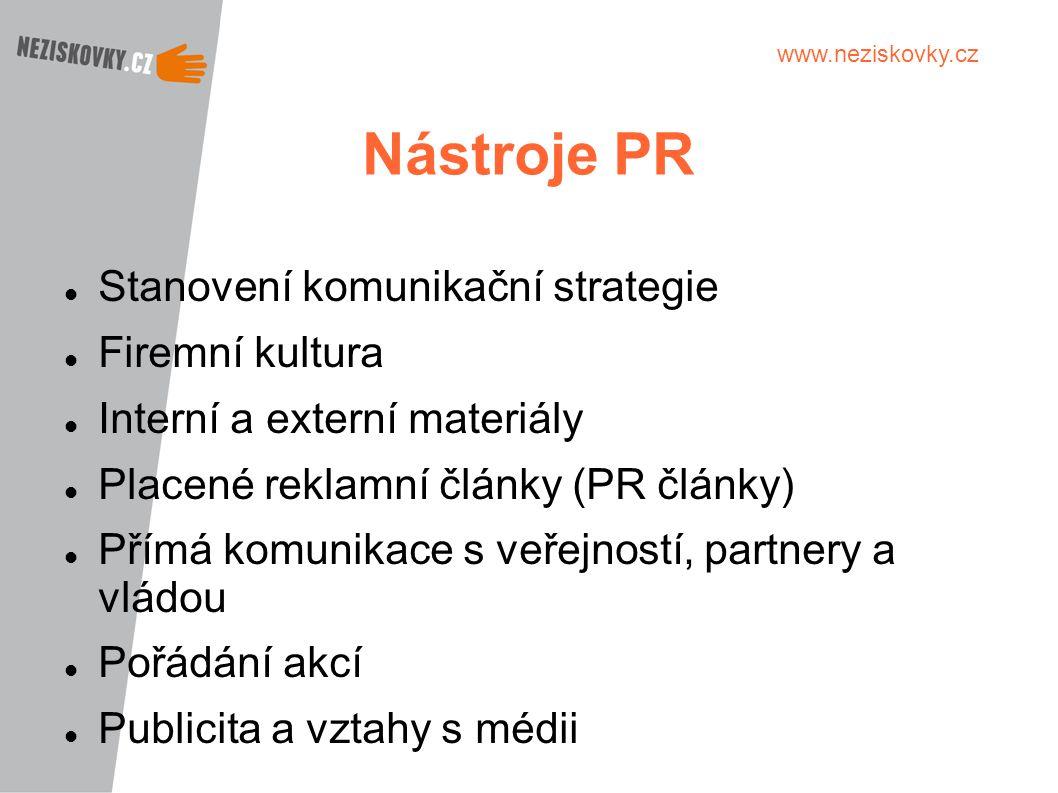 Nástroje PR Stanovení komunikační strategie Firemní kultura