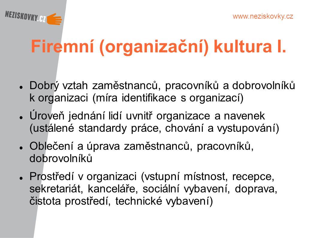 Firemní (organizační) kultura I.
