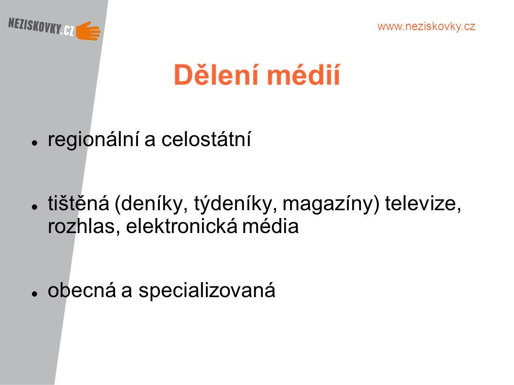 Dělení médií regionální a celostátní