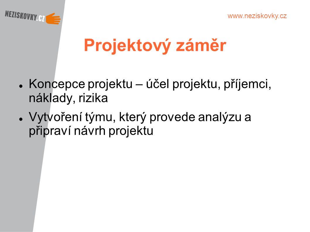 Projektový záměr Koncepce projektu – účel projektu, příjemci, náklady, rizika.