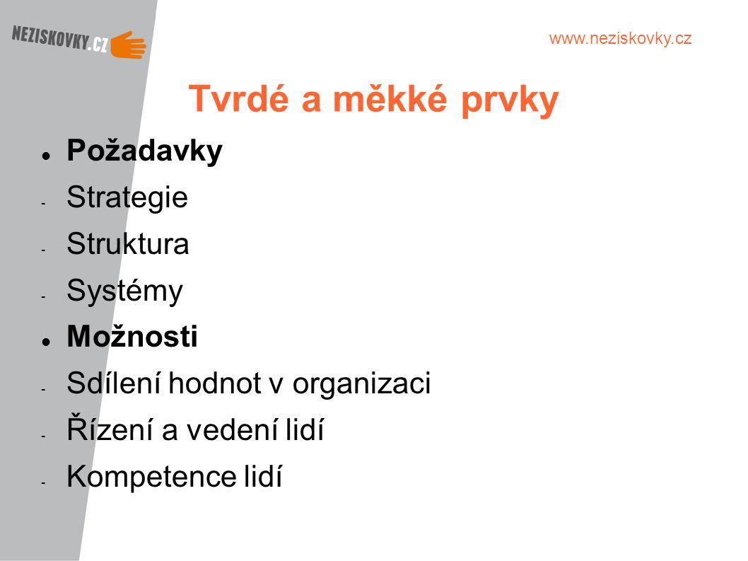 Tvrdé a měkké prvky Požadavky Strategie Struktura Systémy Možnosti