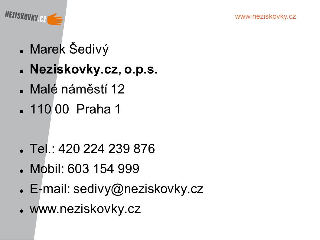Marek Šedivý Neziskovky.cz, o.p.s. Malé náměstí 12. 110 00 Praha 1. Tel.: 420 224 239 876. Mobil: 603 154 999.
