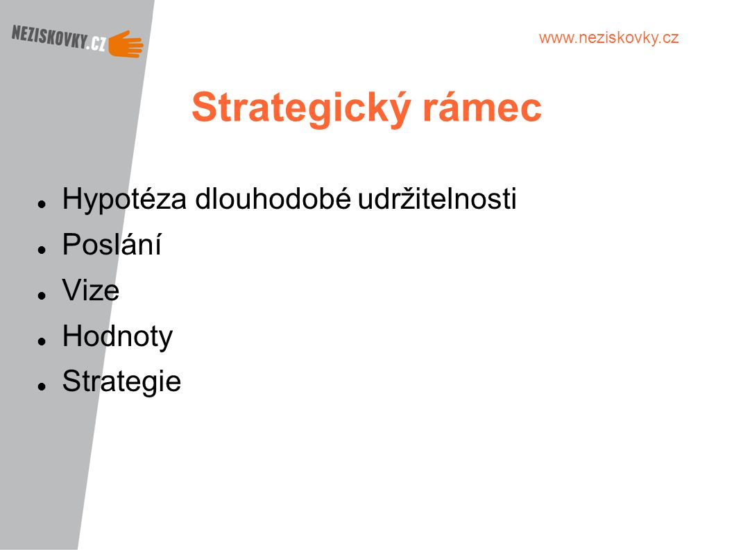 Strategický rámec Hypotéza dlouhodobé udržitelnosti Poslání Vize