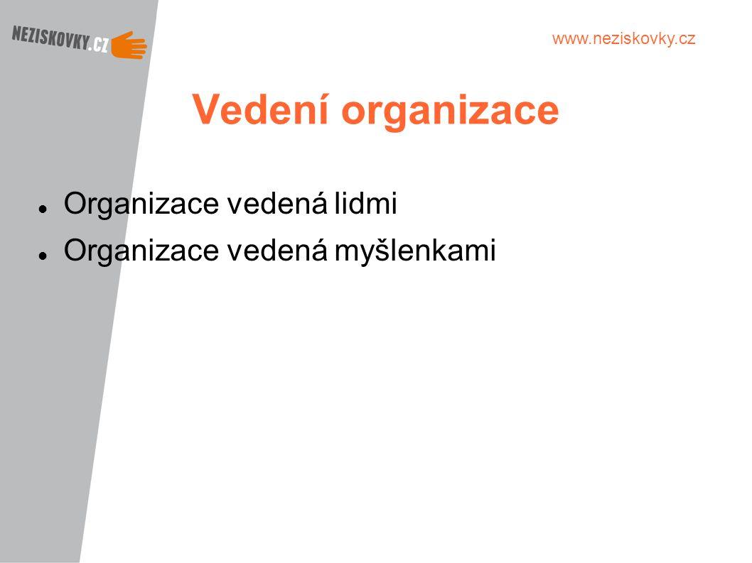 Vedení organizace Organizace vedená lidmi Organizace vedená myšlenkami