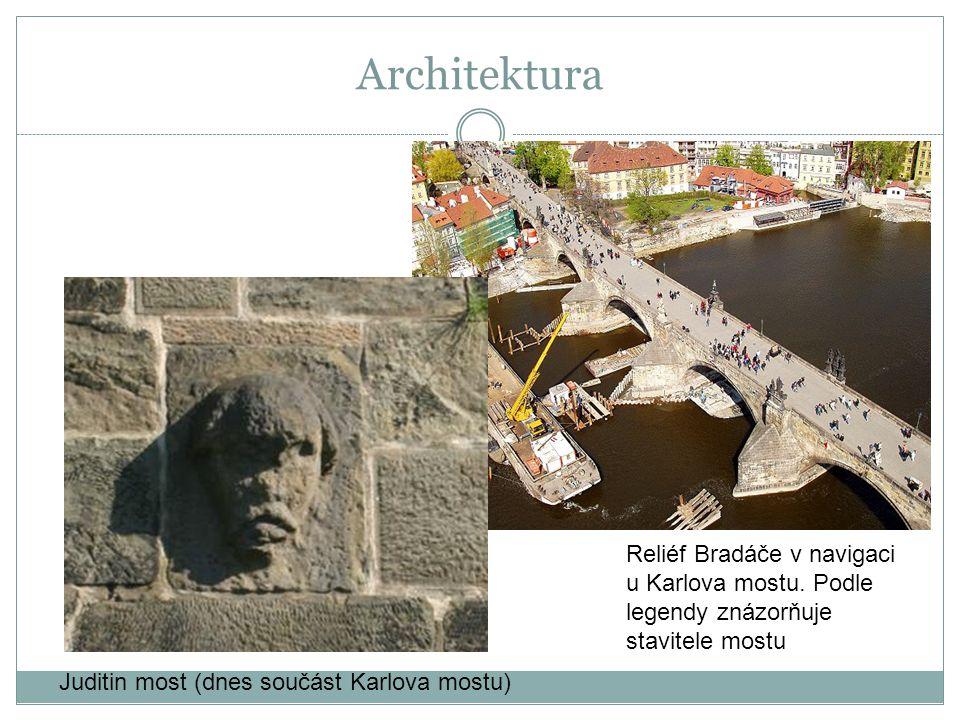 Architektura Reliéf Bradáče v navigaci u Karlova mostu.