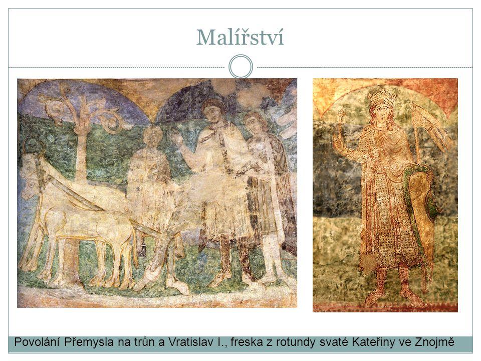 Malířství Povolání Přemysla na trůn a Vratislav I., freska z rotundy svaté Kateřiny ve Znojmě