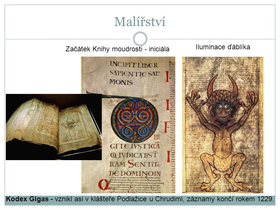Malířství Iluminace ďáblíka Začátek Knihy moudrosti - iniciála