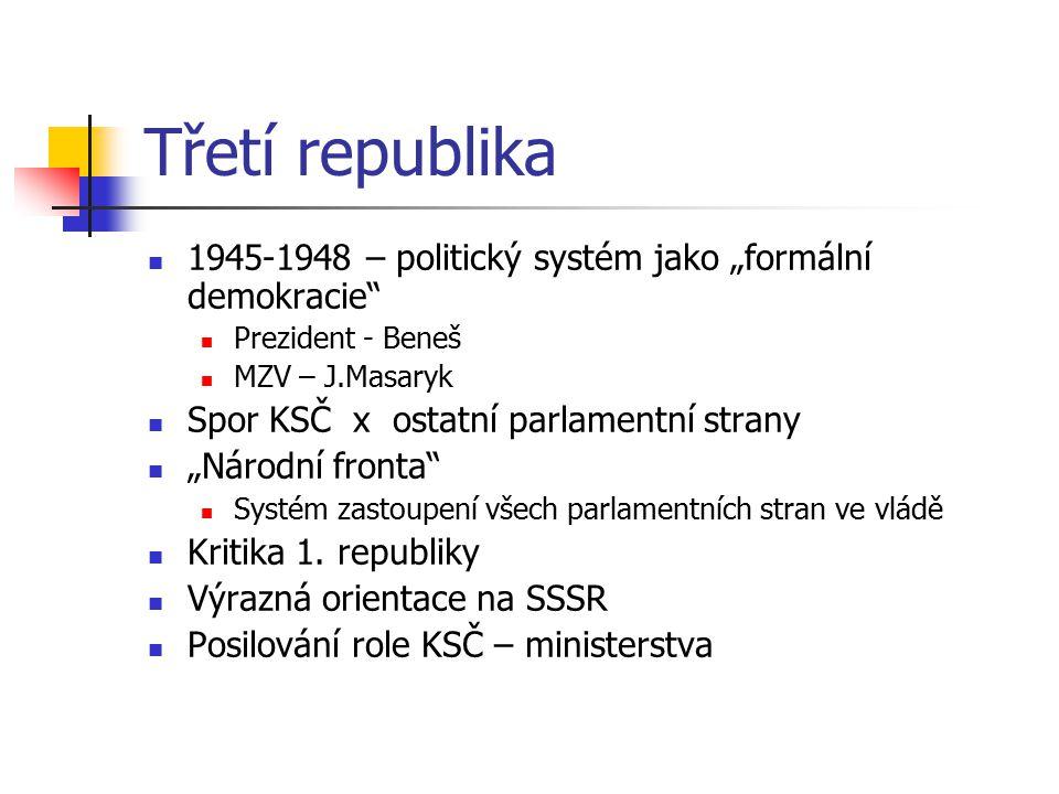 """Třetí republika 1945-1948 – politický systém jako """"formální demokracie Prezident - Beneš. MZV – J.Masaryk."""