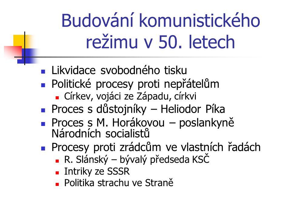 Budování komunistického režimu v 50. letech