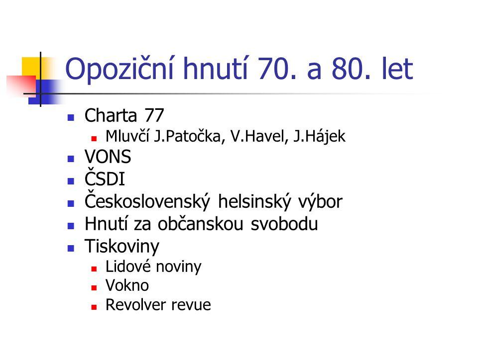 Opoziční hnutí 70. a 80. let Charta 77 VONS ČSDI