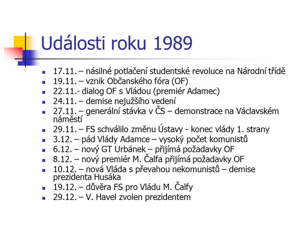 Události roku 1989 17.11. – násilné potlačení studentské revoluce na Národní třídě. 19.11. – vznik Občanského fóra (OF)