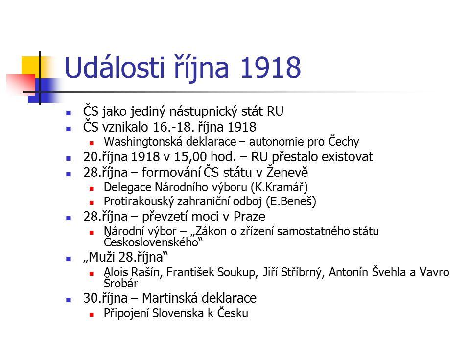 Události října 1918 ČS jako jediný nástupnický stát RU
