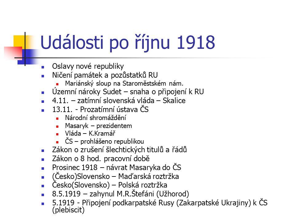 Události po říjnu 1918 Oslavy nové republiky
