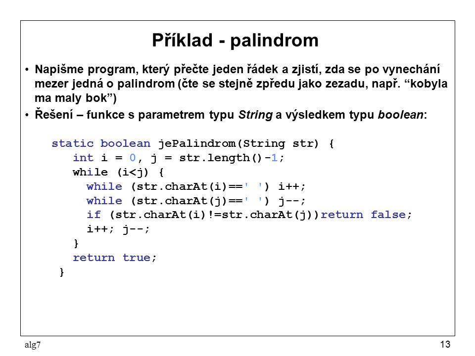 Příklad - palindrom