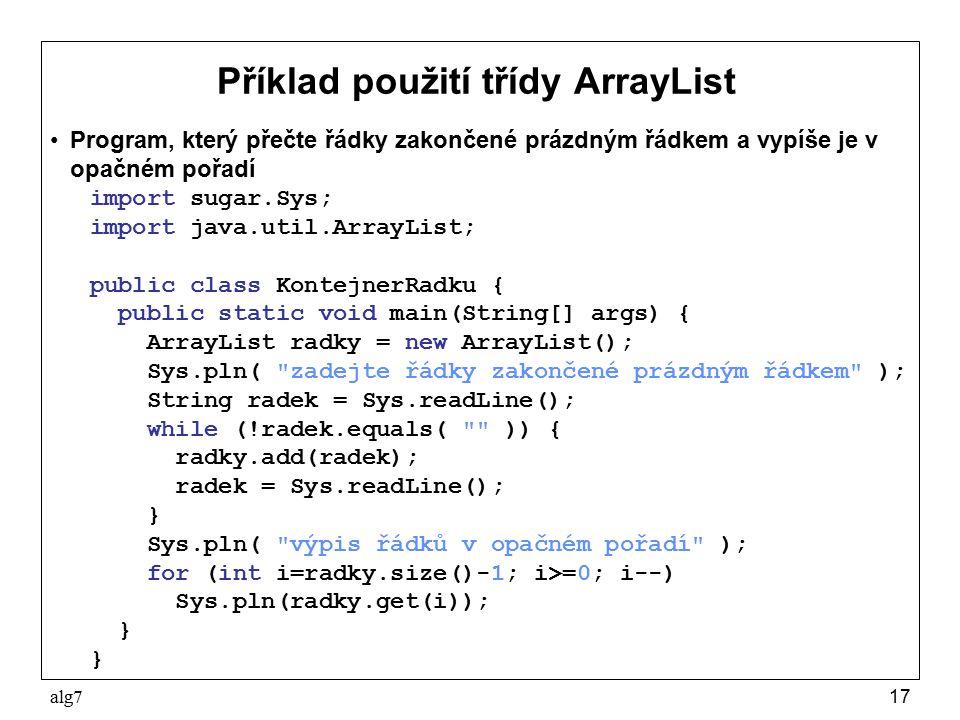 Příklad použití třídy ArrayList