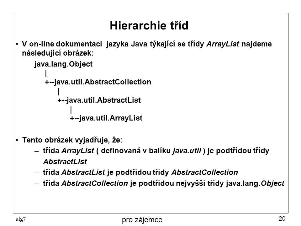 Hierarchie tříd V on-line dokumentaci jazyka Java týkající se třídy ArrayList najdeme následující obrázek: