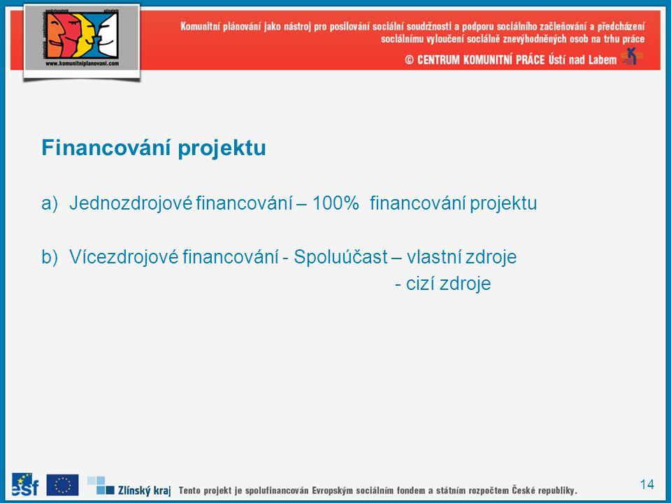 Financování projektu Jednozdrojové financování – 100% financování projektu. Vícezdrojové financování - Spoluúčast – vlastní zdroje.