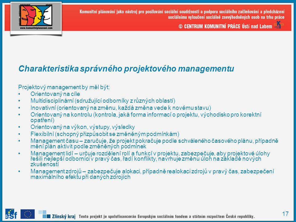 Charakteristika správného projektového managementu