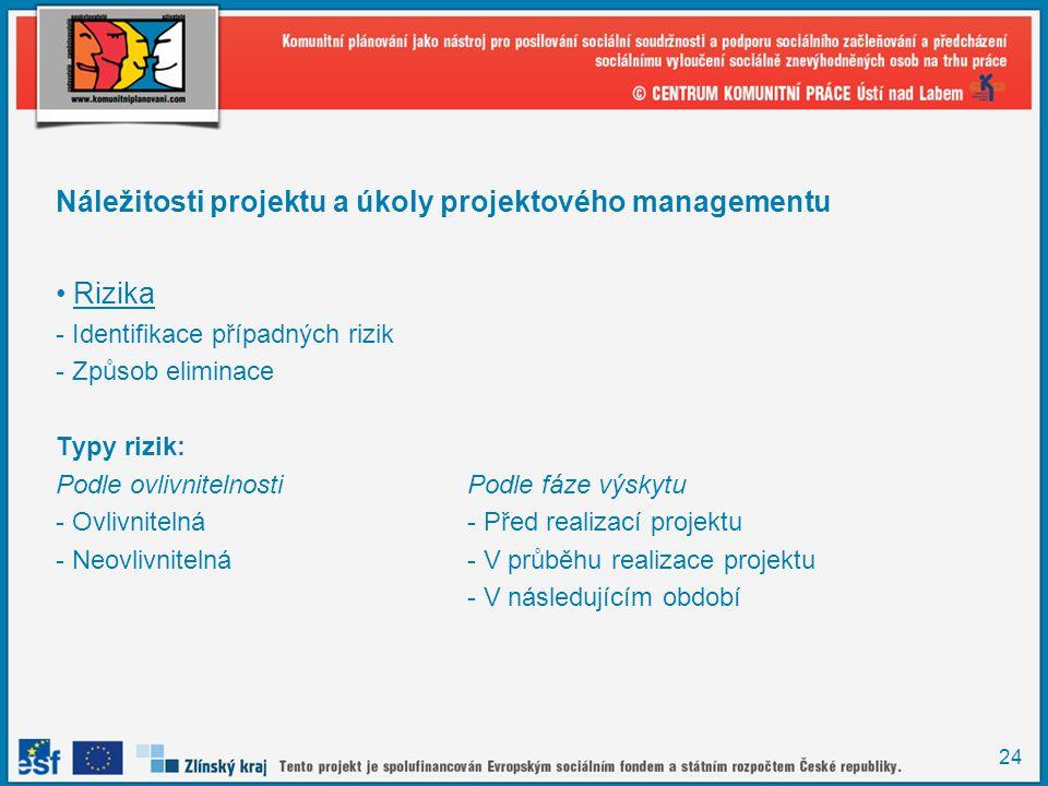Náležitosti projektu a úkoly projektového managementu Rizika
