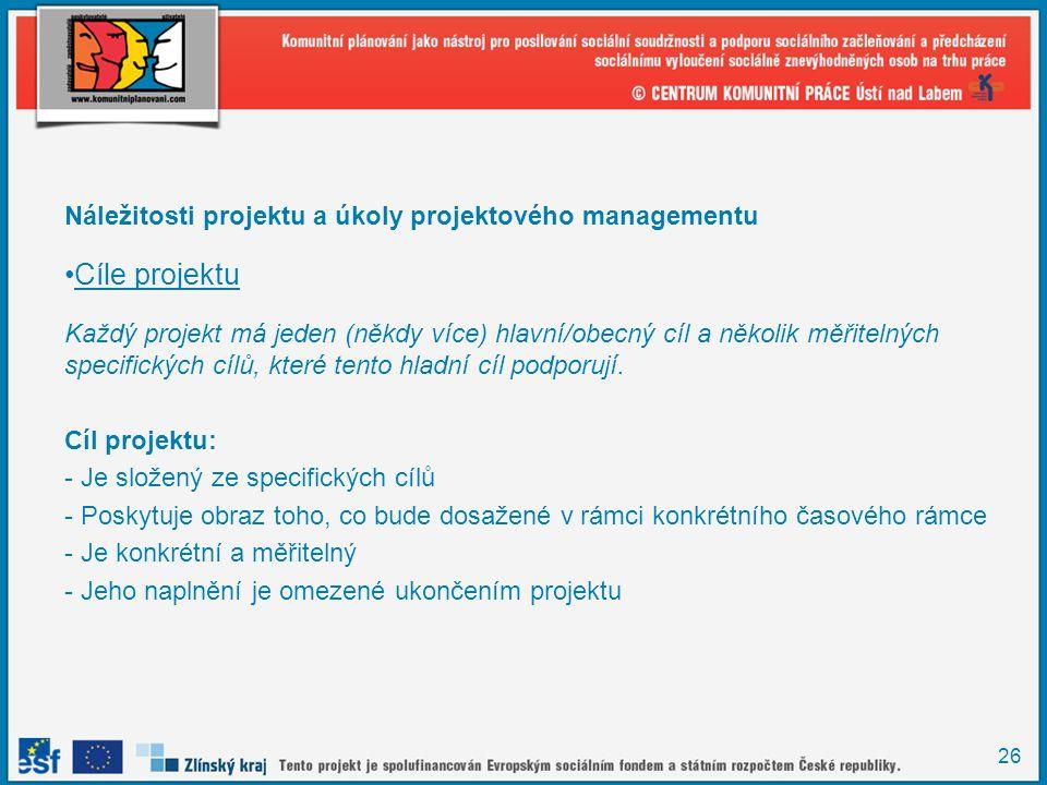 Cíle projektu Náležitosti projektu a úkoly projektového managementu