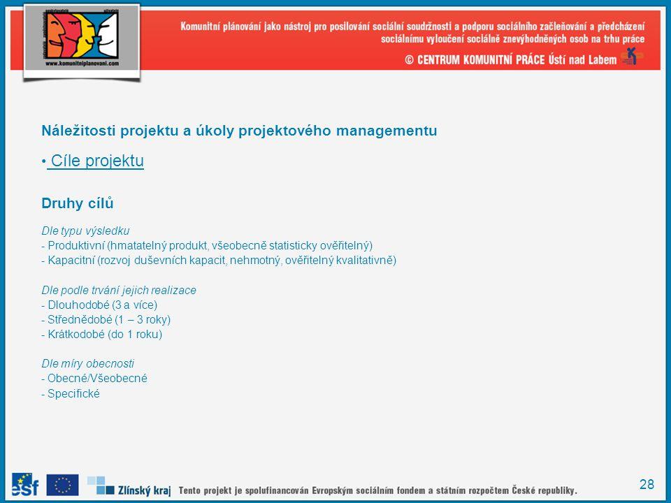 Náležitosti projektu a úkoly projektového managementu Cíle projektu