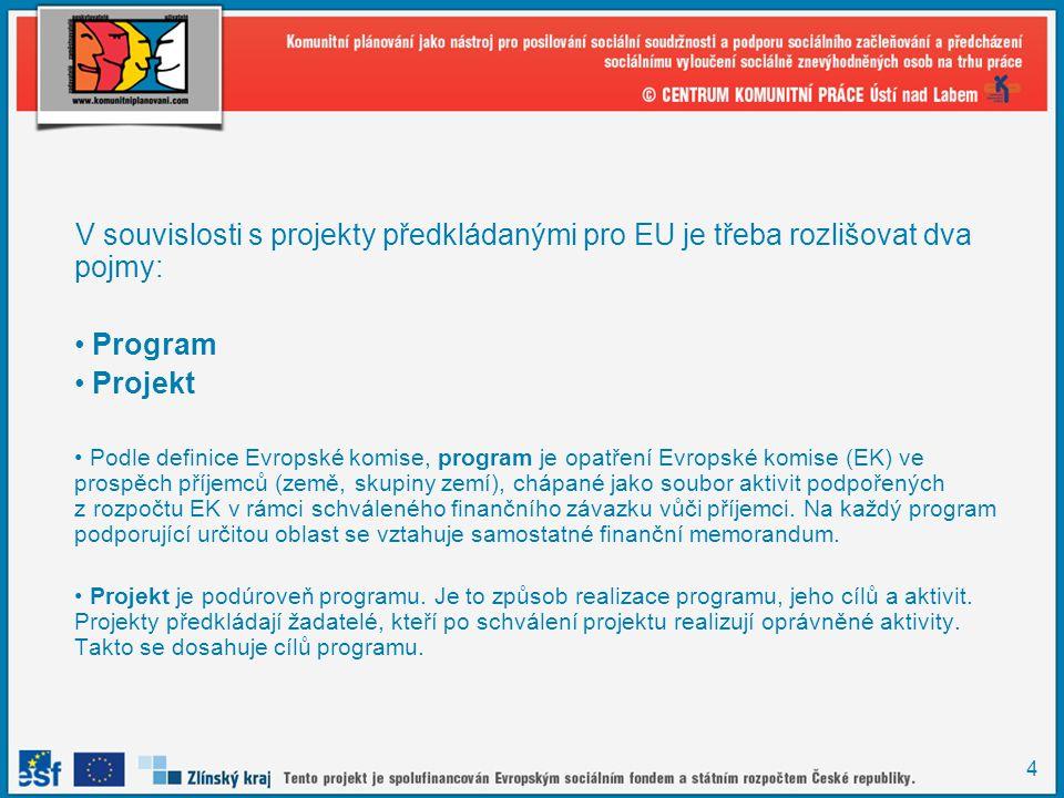V souvislosti s projekty předkládanými pro EU je třeba rozlišovat dva pojmy: