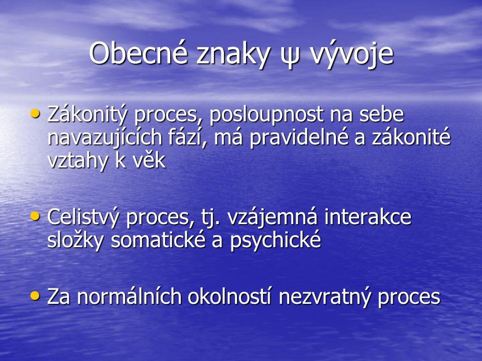 Obecné znaky ψ vývoje Zákonitý proces, posloupnost na sebe navazujících fází, má pravidelné a zákonité vztahy k věk.