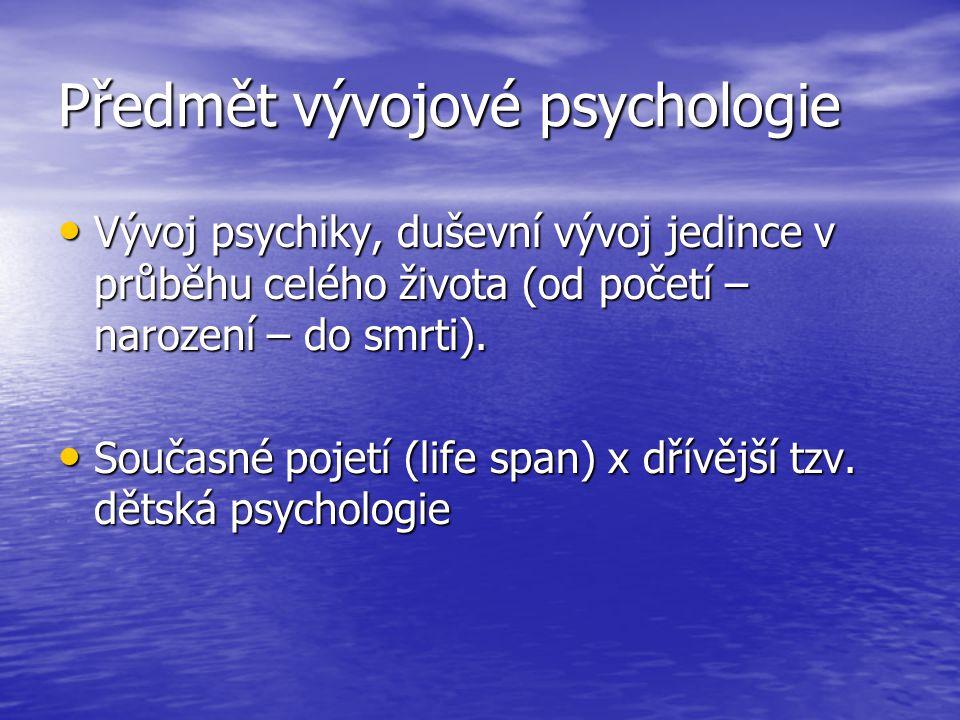 Předmět vývojové psychologie