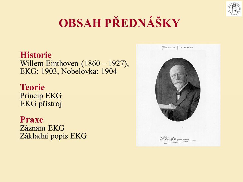 OBSAH PŘEDNÁŠKY Historie Teorie Praxe Willem Einthoven (1860 – 1927),
